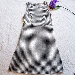 LOFT Houndstooth Fit & Flare Sleeveless Dress sz 8